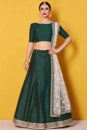 Art Silk Festive Lehenga Choli Green Color With Half Sleeve