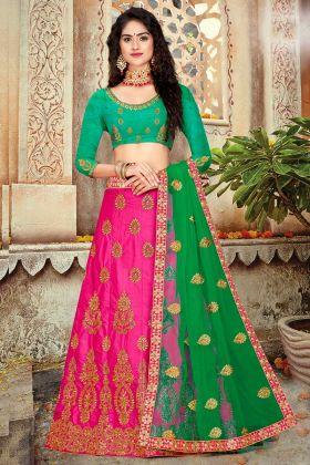 Art Silk Festive Lehenga Choli Rani Pink Color With Stone Work
