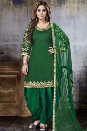 Art Silk Green Punjabi Dress Material