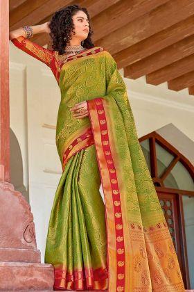 Art Silk Green Saree With Silk Red Blouse