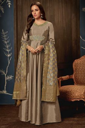 Art Silk Grey Festive Gown Online