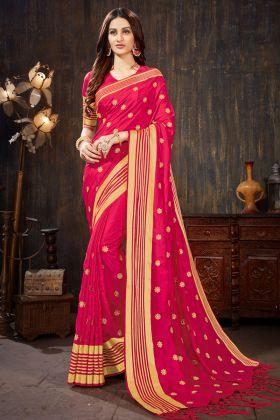 Art Silk Indian Designer Saree Rani Pink Color With Jari Embroidery Work