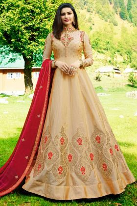 Art Silk Jacquard Wedding Salwar With Full Length Beige Color