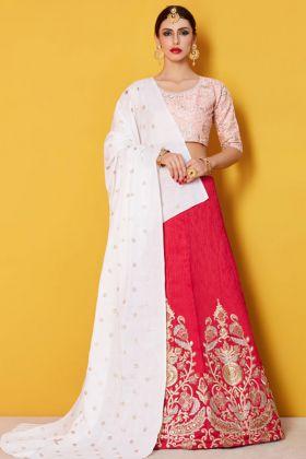 Art Silk Lehenga Choli Pink Color With Net Dupatta