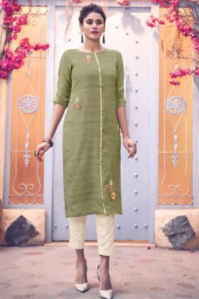 Art Silk Light Green Readymade Pair Kurti In Hand Work