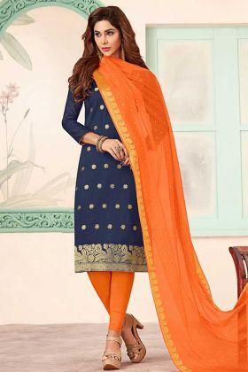 Art Silk Navy Blue Straight Salwar Suit