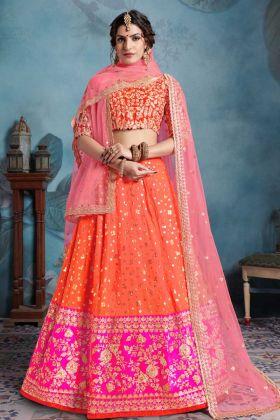 Art Silk Orange Color Embroidery Work Bridal Lehenga Choli