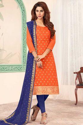 Art Silk Orange Straight Suit Online