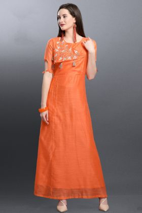 Art Silk Orange Stylish Kurti