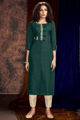 Art Silk Pant Style Kurti Hand Work In Teal Green Color