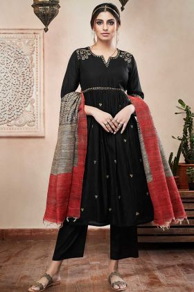 Art Silk Pant Style Salwar Kameez Zari Embroidery Work In Black Color