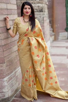 Art Silk Party Wear Saree Cream Color With Weaving Work
