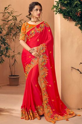 Art Silk Party Wear Saree Red Color With Embroidery Work