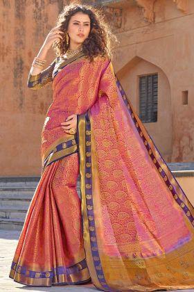 Art Silk Pink Saree With Silk Navy Blue Blouse