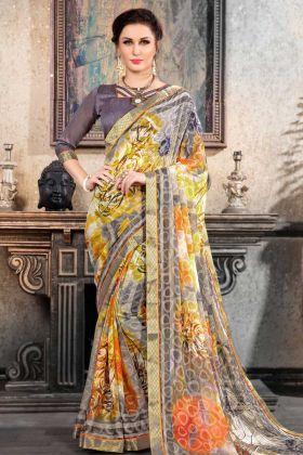 Art Silk Printed Blouse With Casual Saree