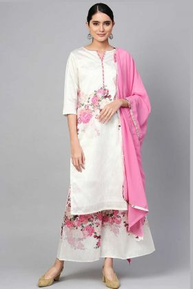 Art Silk Printed Casual Palazzo Suit White Color With Pink Dupatta