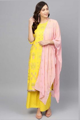 Art Silk Printed Casual Palazzo Suit Yellow Color With Georgette Dupatta