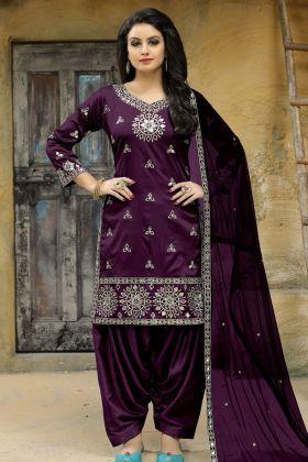 Art Silk Purple Punjabi Suit