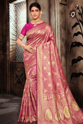 Art Silk Rani Pink Saree Online