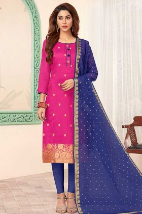 Art Silk Rani Pink Straight Salwar Kameez