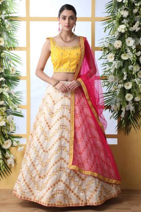 Art Silk Reception Lehenga Choli Off White Color With Zari Embroidery Work