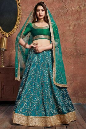 Art Silk Reception Lehenga Choli Zari Embroidery Work In Blue Color