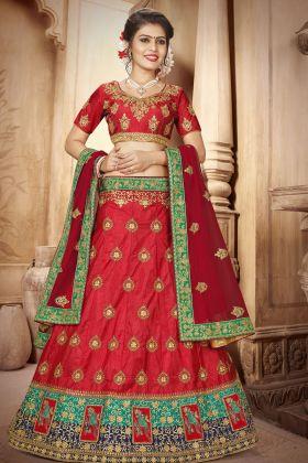 Art Silk Red Festive Lehenga Choli