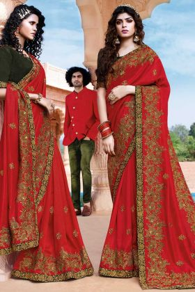 Art Silk Resham Designer Embroidery Red Saree Blouse Design