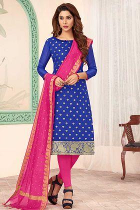 Art Silk Royal Blue Straight Salwar Suit