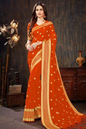 Art Silk Rust Orange Color Saree With Jari Embroidery Work