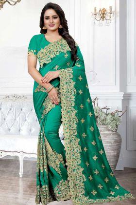 Art Silk Saree Jari Embroidery In Green Color