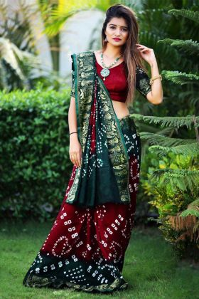 Art Silk Saree Maroon and Pine Green Color With Printed Work