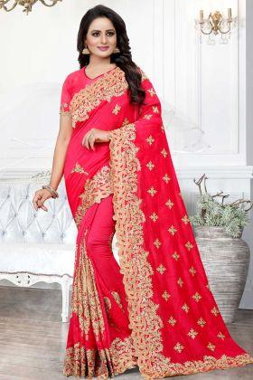 Art Silk Saree Rani Pink Color With Jari Embroidery Work