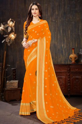 Art Silk Saree Weaving Work In Orange Color