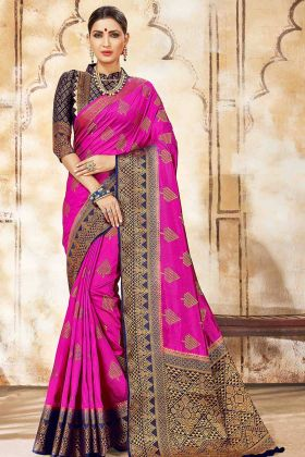 Art Silk Saree Weaving Work In Rani Pink Color