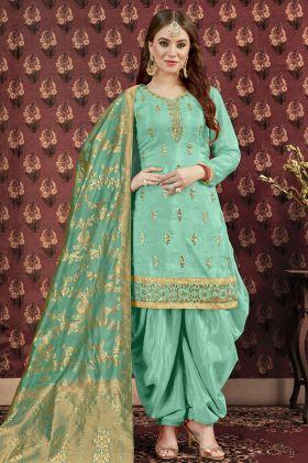 Art Silk Sea Green Patiala Suit