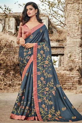 Art Silk Steel Blue Color Wedding Saree
