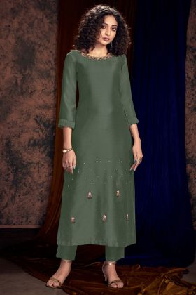Art Silk Stylish Kurti Hand Work In Teal Grey Color