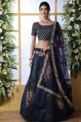 Art Silk Stylish Navy Blue Bridal Lehenga Choli With Net Dupatta