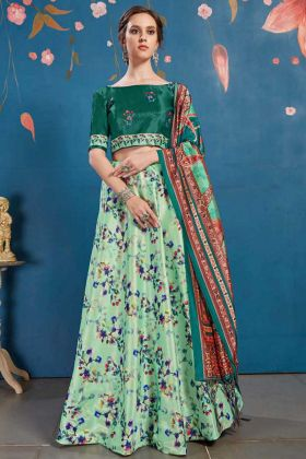 Art Silk Traditional Lehenga Light Green With Printed Choli