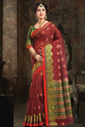 Art Silk Traditional Saree Maroon Color With Weaving Work Blouse