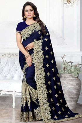 Art Silk Traditional Saree Navy Blue Color With Stone Work