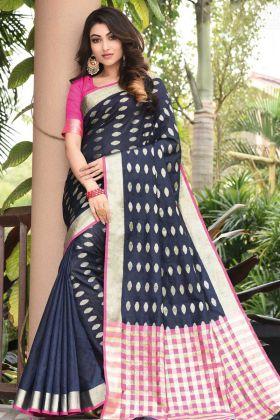 Art Silk Traditional Saree Weaving Navy Blue Color