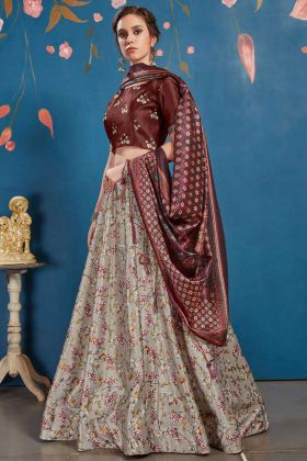 Art Silk Wedding Lehenga Choli In Maroon Colored Blouse Paired