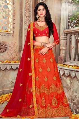 Art Silk Wedding Lehenga Choli Red Color With Net Dupatta