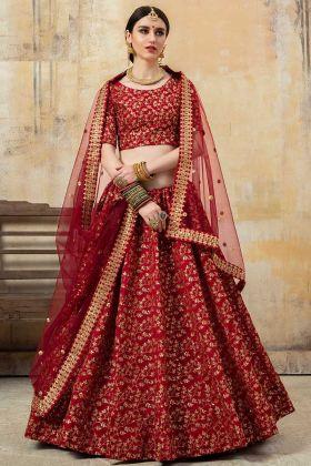 Art Silk Wedding Lehenga Choli Sequinc Work In Maroon Color