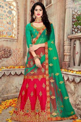 Art Silk Wedding Lehenga Choli With Net Dupatta Red Color