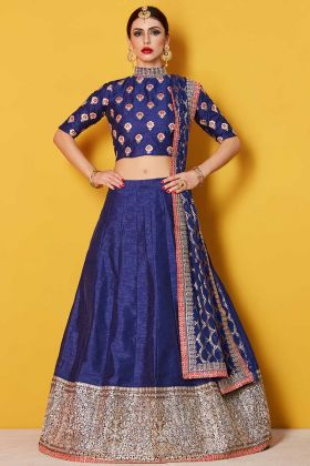Art Silk Wedding Lehenga Embroidery Work Navy Blue Color
