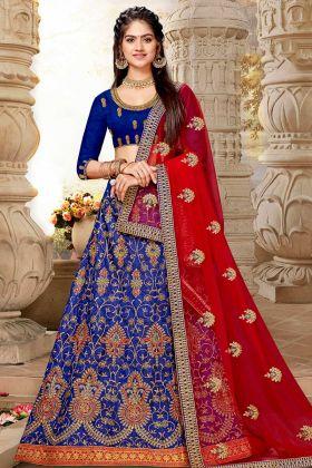 Art Silk Wedding Lehenga Royal Blue With Net Red Dupatta