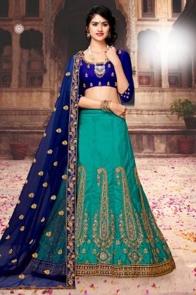 Art Silk Wedding Mermaid Lehenga Choli With Thread Embroidery Work In Blue Color